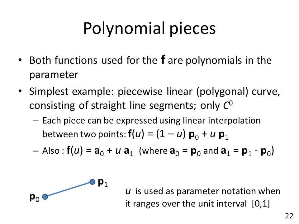Polynomial pieces Both functions used for the f are polynomials in the parameter.