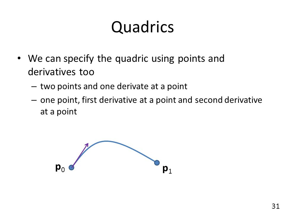 Quadrics We can specify the quadric using points and derivatives too