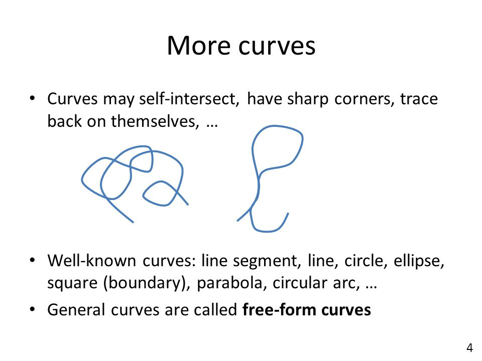 More curves Curves may self-intersect, have sharp corners, trace back on themselves, …