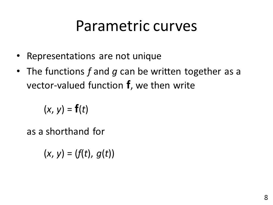 Parametric curves Representations are not unique
