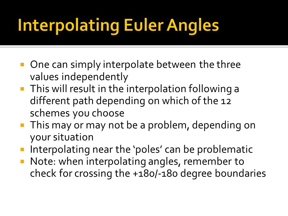 Interpolating Euler Angles