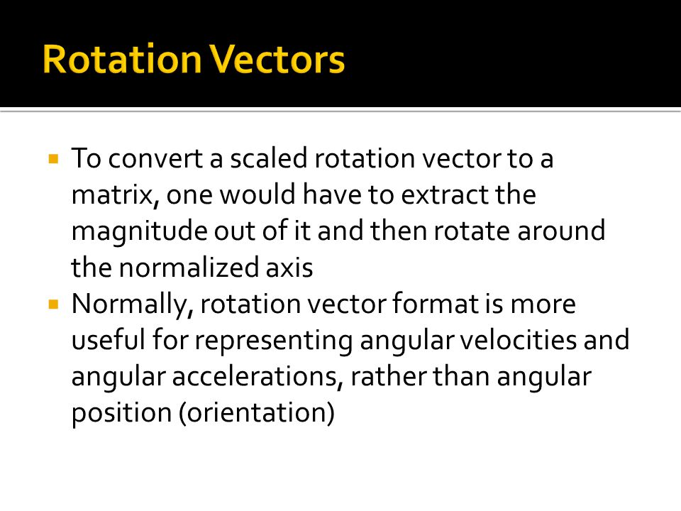 Rotation Vectors