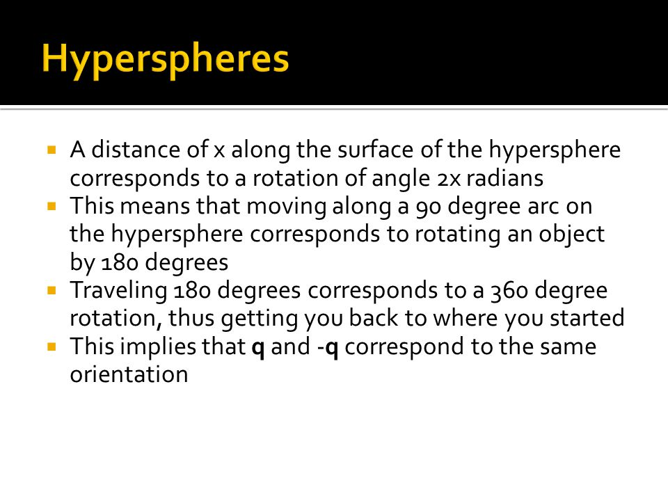 Hyperspheres A distance of x along the surface of the hypersphere corresponds to a rotation of angle 2x radians.