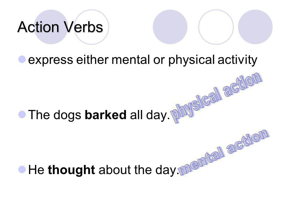 Action Verbs physical action mental action