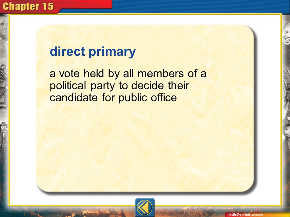 direct primary a vote held by all members of a political party to decide their candidate for public office.