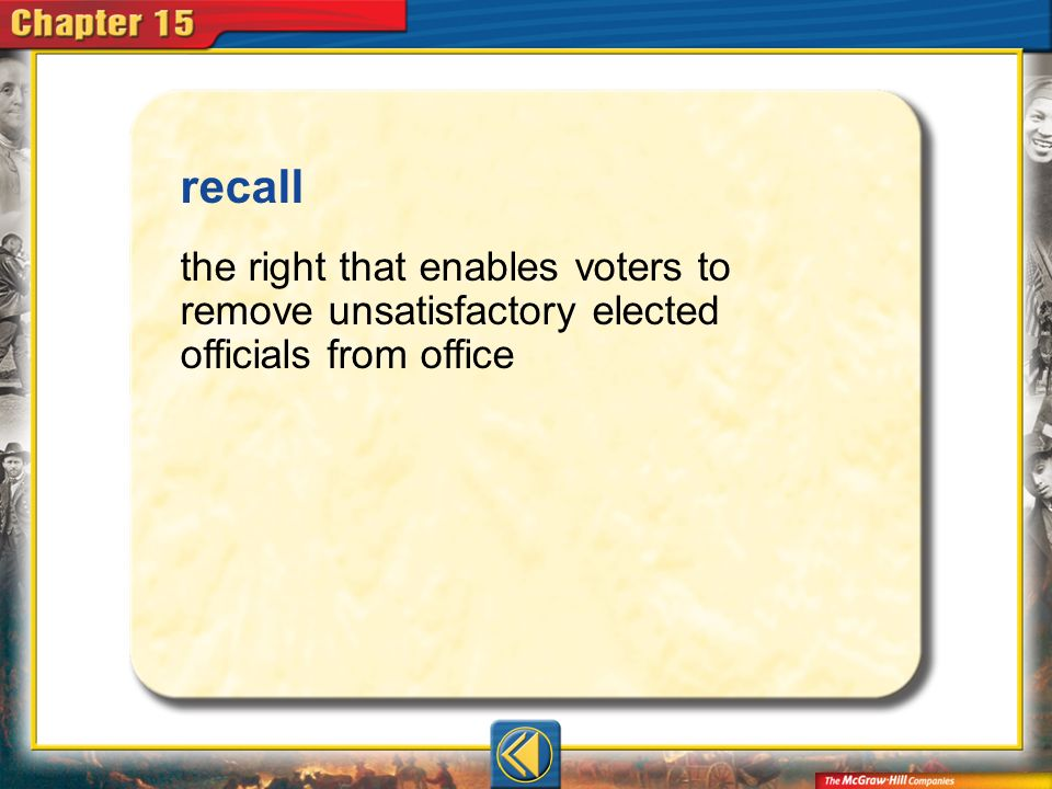 recall the right that enables voters to remove unsatisfactory elected officials from office Vocab5