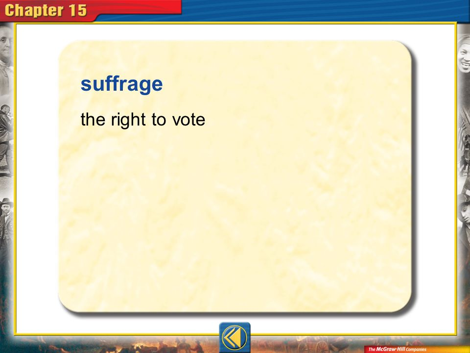 suffrage the right to vote Vocab6