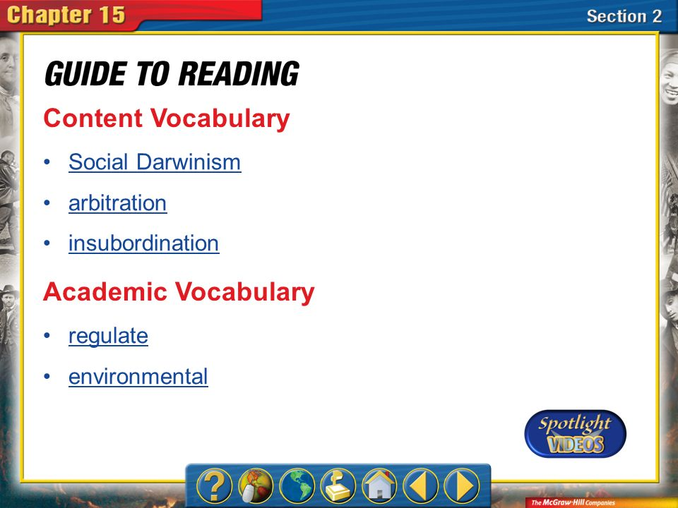 Content Vocabulary Academic Vocabulary Social Darwinism arbitration