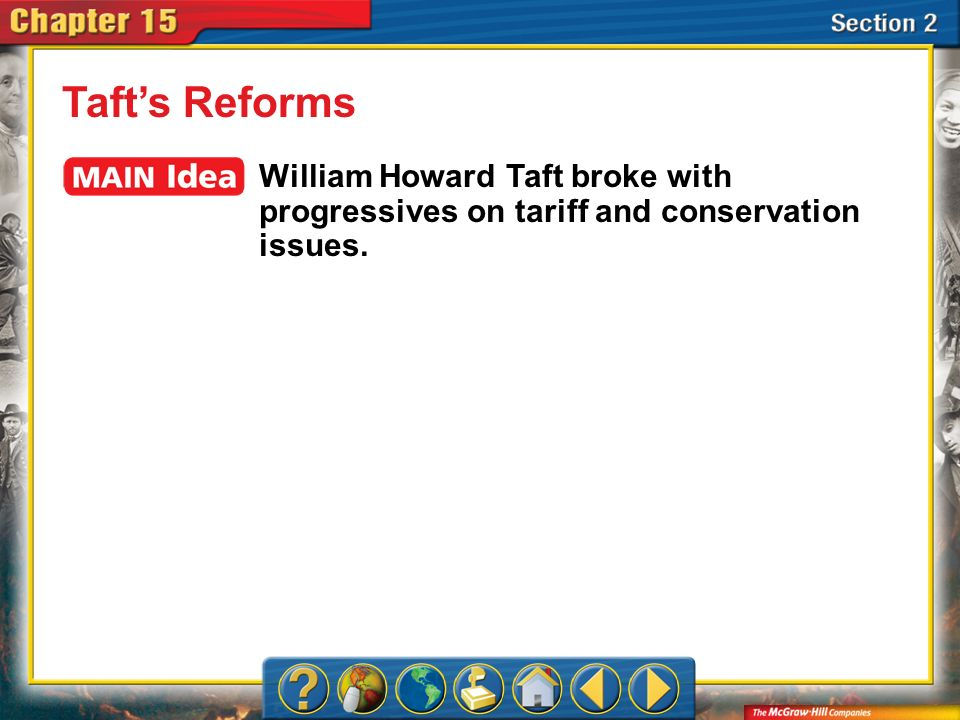 Taft's Reforms William Howard Taft broke with progressives on tariff and conservation issues.