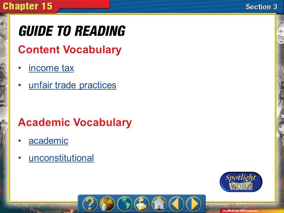 Content Vocabulary Academic Vocabulary income tax