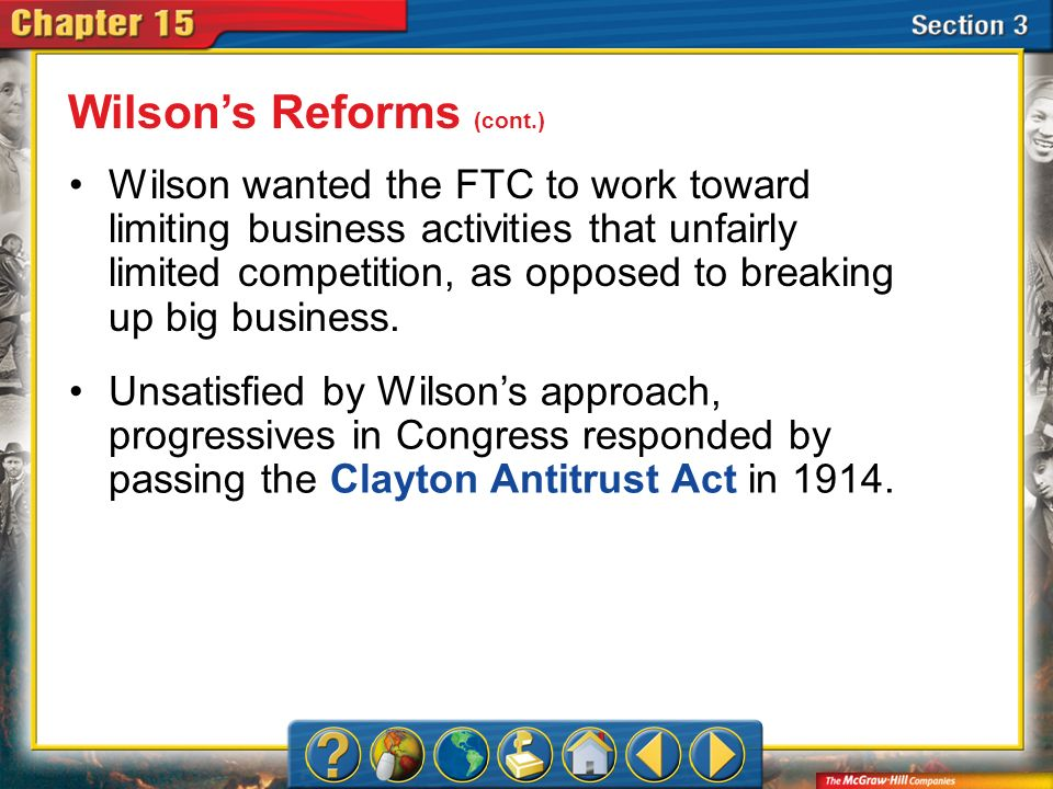 Wilson's Reforms (cont.)