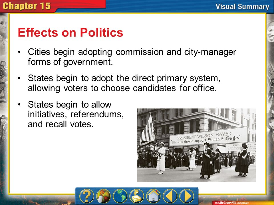 Effects on Politics Cities begin adopting commission and city-manager forms of government.