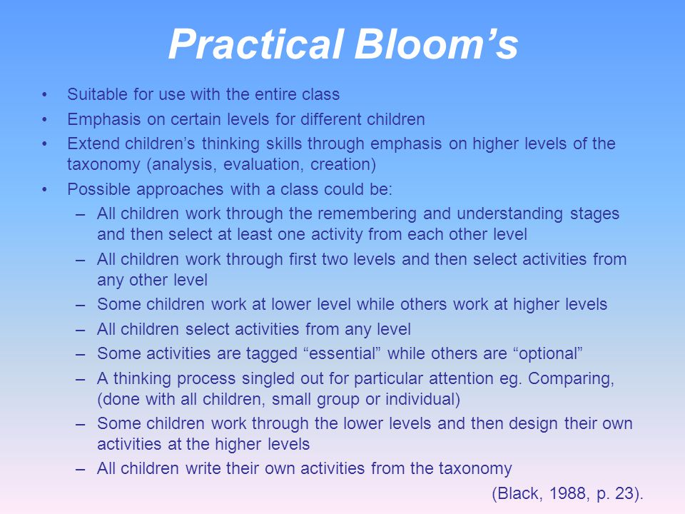 Practical Bloom's Suitable for use with the entire class