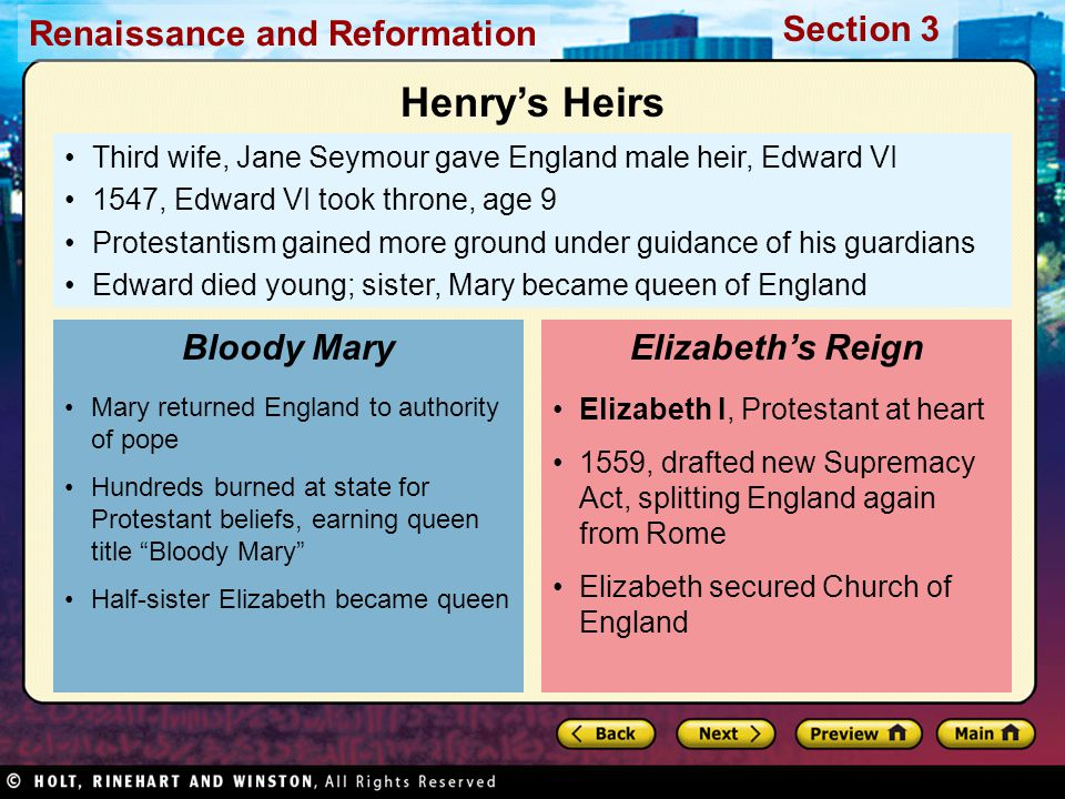 Henry's Heirs Bloody Mary Elizabeth's Reign