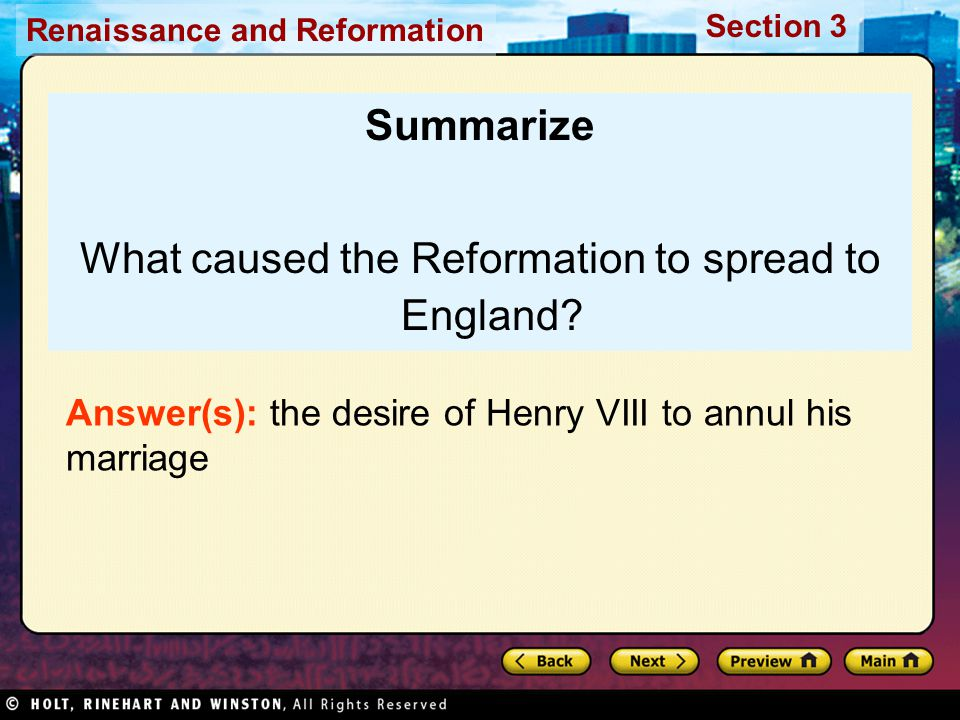 What caused the Reformation to spread to England