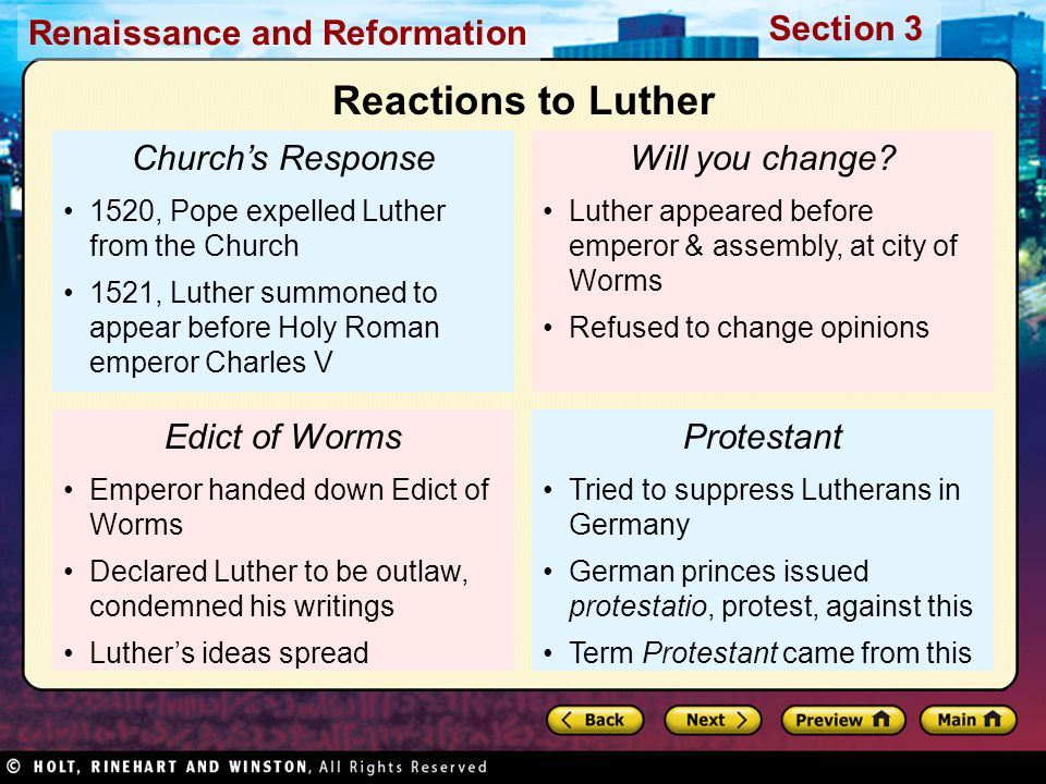Reactions to Luther Church's Response Will you change Edict of Worms