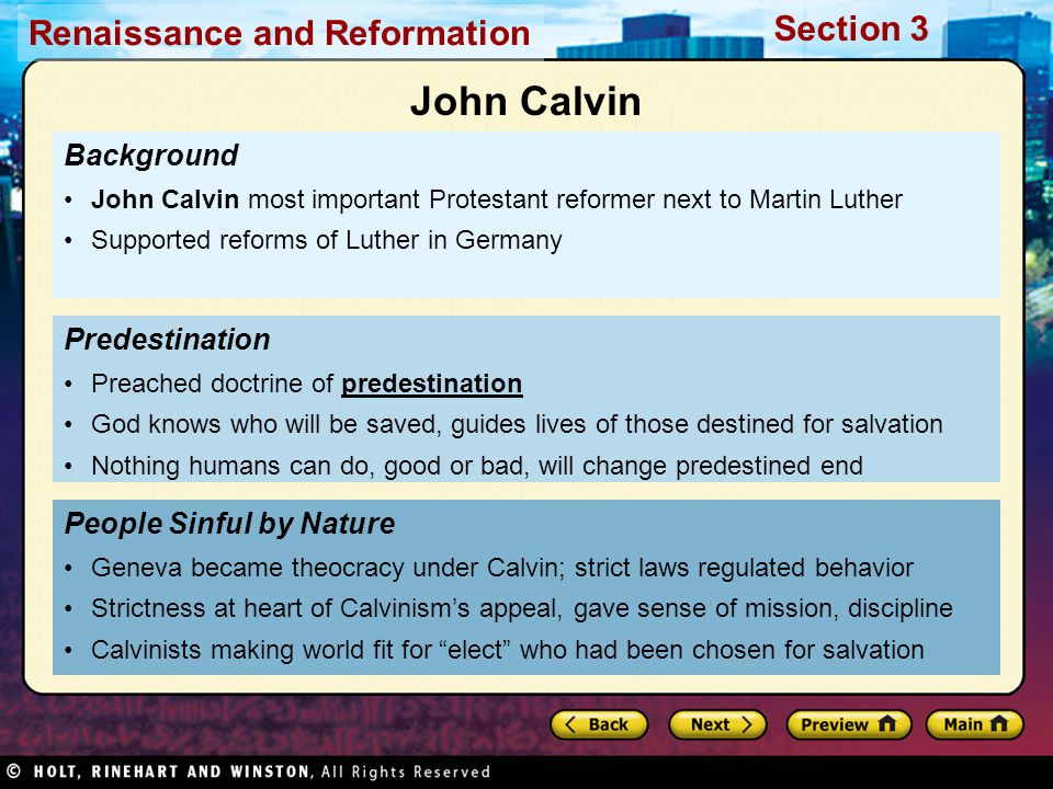 John Calvin Background Predestination People Sinful by Nature