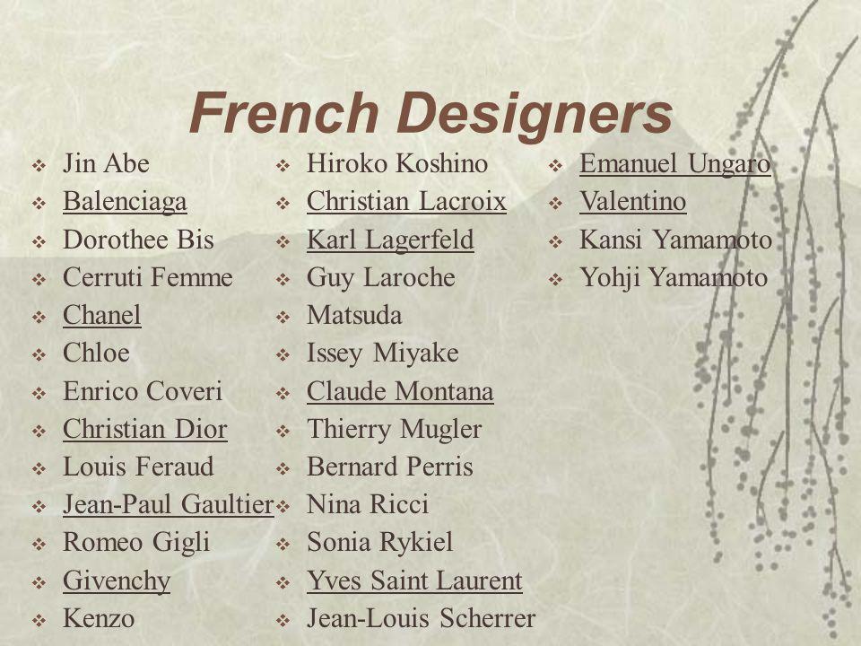 French Designers Jin Abe Balenciaga Dorothee Bis Cerruti Femme Chanel
