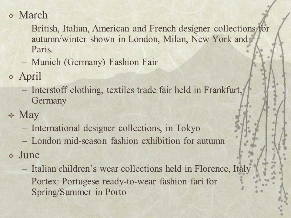 March British, Italian, American and French designer collections for autumn/winter shown in London, Milan, New York and Paris.