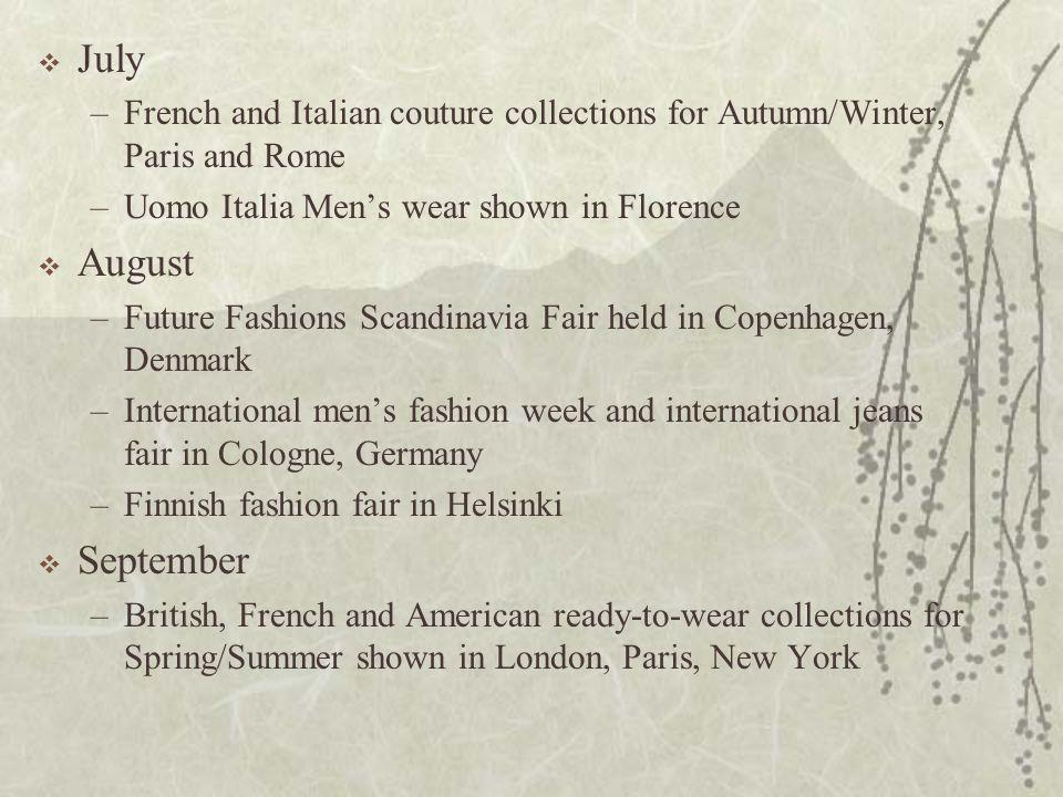 July French and Italian couture collections for Autumn/Winter, Paris and Rome. Uomo Italia Men's wear shown in Florence.