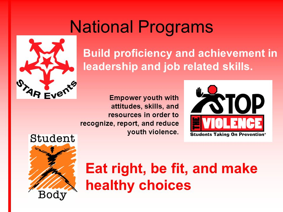 National Programs Eat right, be fit, and make healthy choices