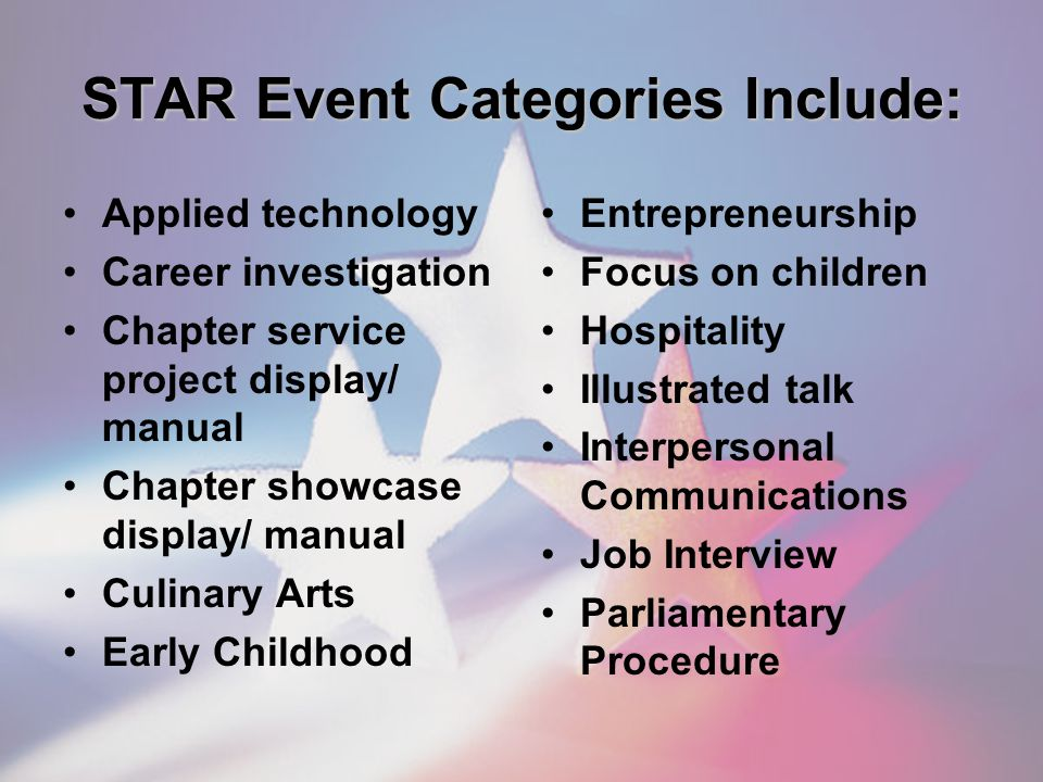 STAR Event Categories Include: