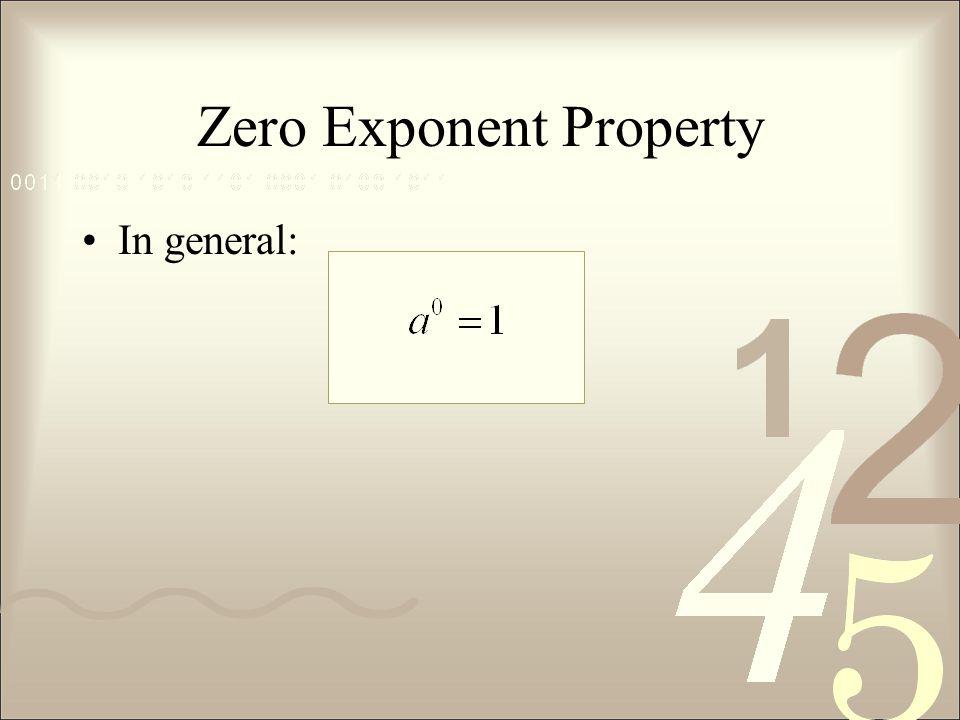 Zero Exponent Property
