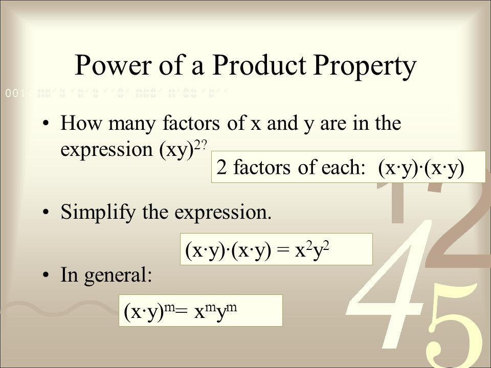 Power of a Product Property