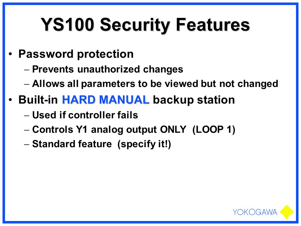 YS100 Security Features Password protection