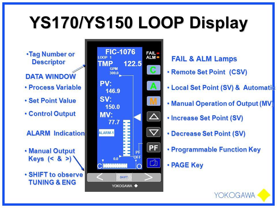YS170/YS150 LOOP Display A M PF FIC-1076 PV: SV: MV: C O TMP 122.5