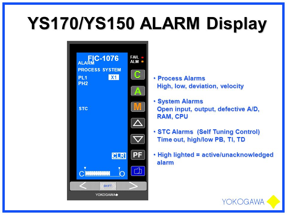 YS170/YS150 ALARM Display A M C FIC-1076 O PF Process Alarms
