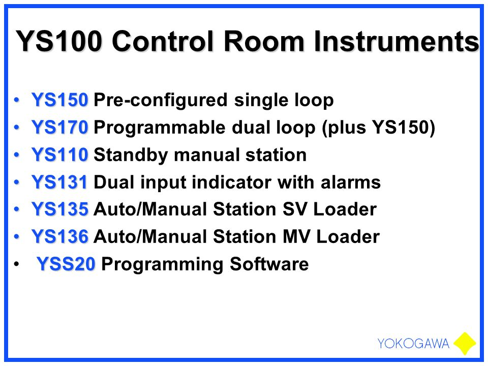 YS100 Control Room Instruments