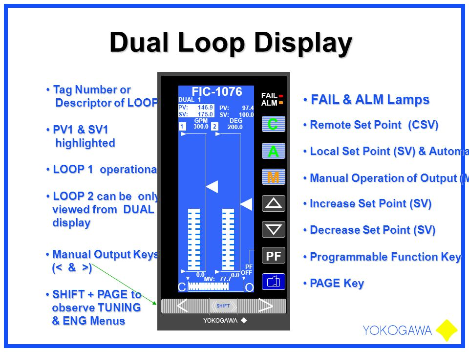 Dual Loop Display A M FAIL & ALM Lamps FIC-1076 PF C O Tag Number or