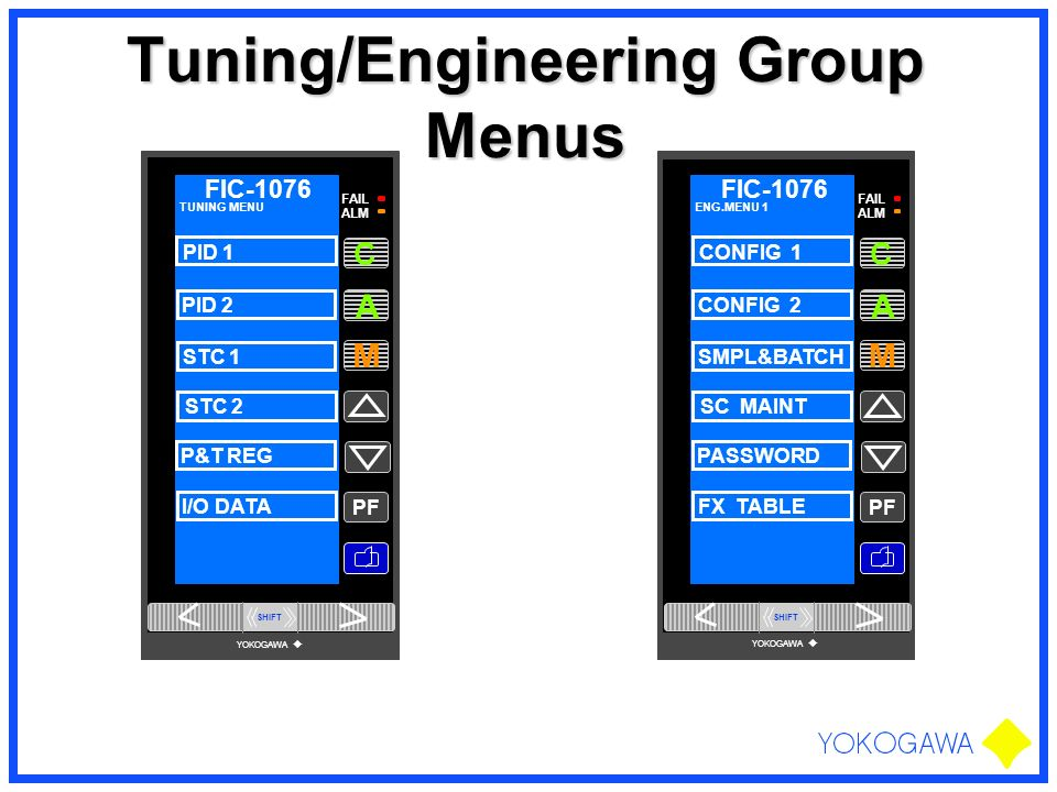 Tuning/Engineering Group Menus