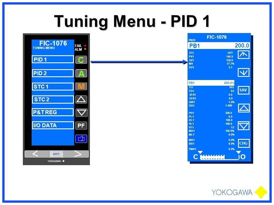 Tuning Menu - PID 1 A M C O FIC-1076 200.0 PID 1 PID 2 STC 1 STC 2