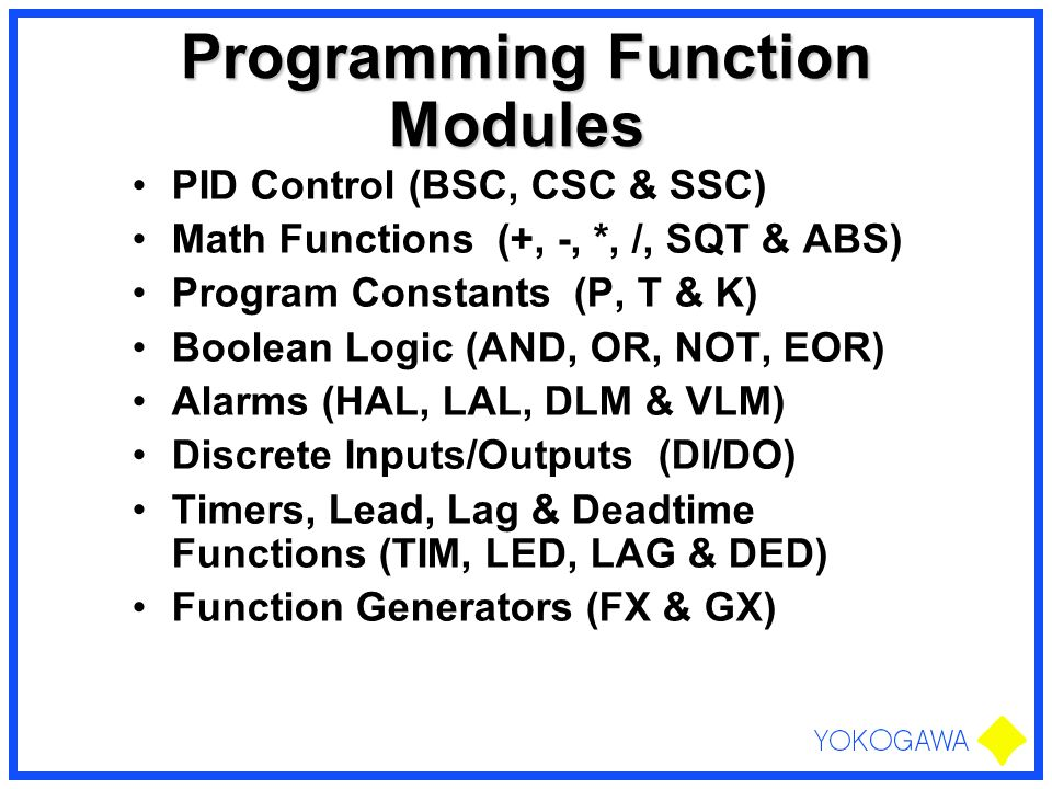 Programming Function Modules