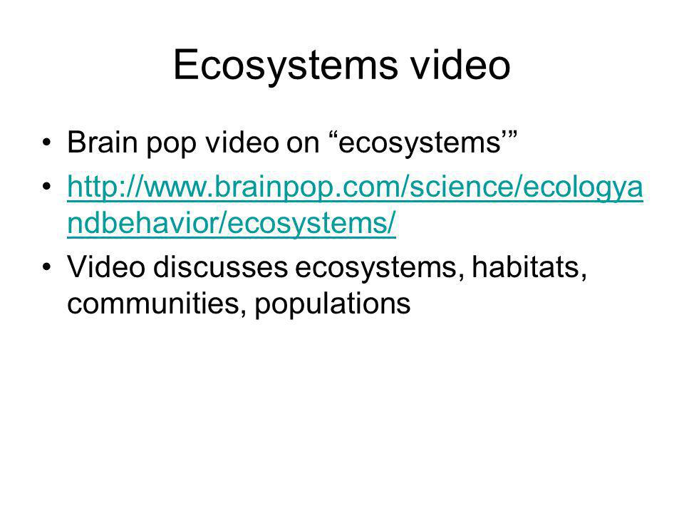 Ecosystems video Brain pop video on ecosystems'