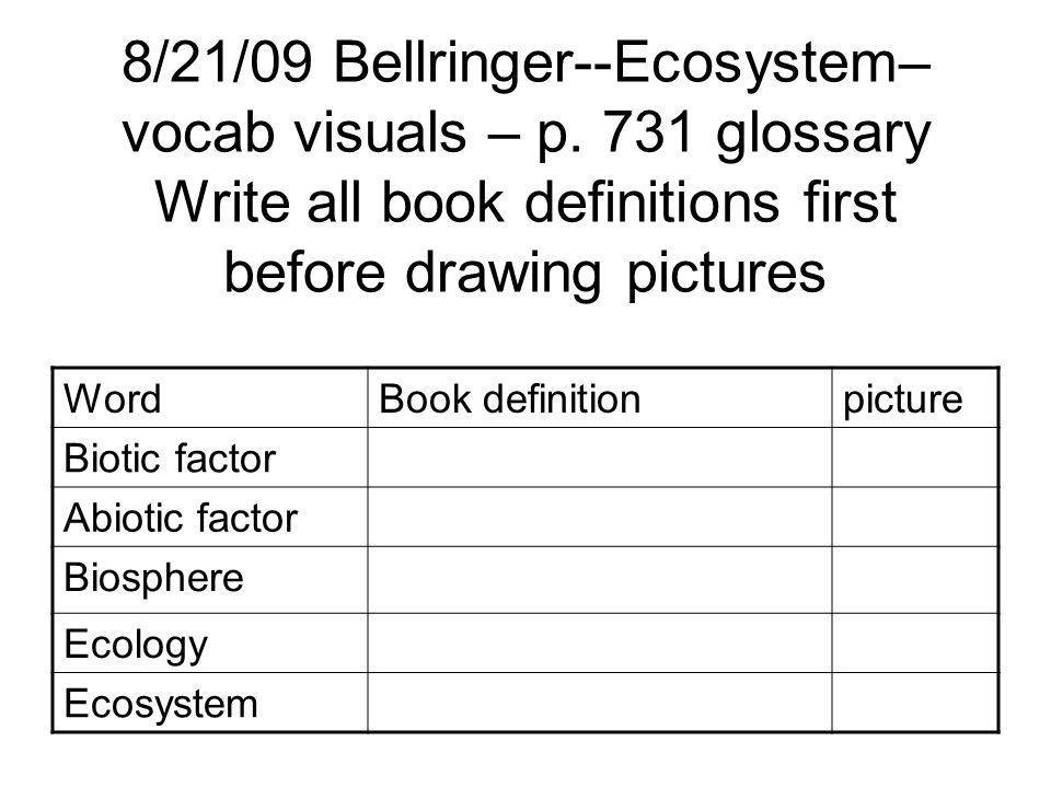 8/21/09 Bellringer--Ecosystem– vocab visuals – p