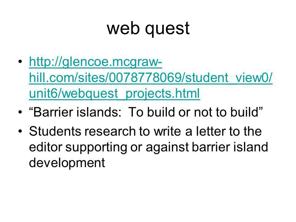 web quest http://glencoe.mcgraw-hill.com/sites/0078778069/student_view0/unit6/webquest_projects.html.