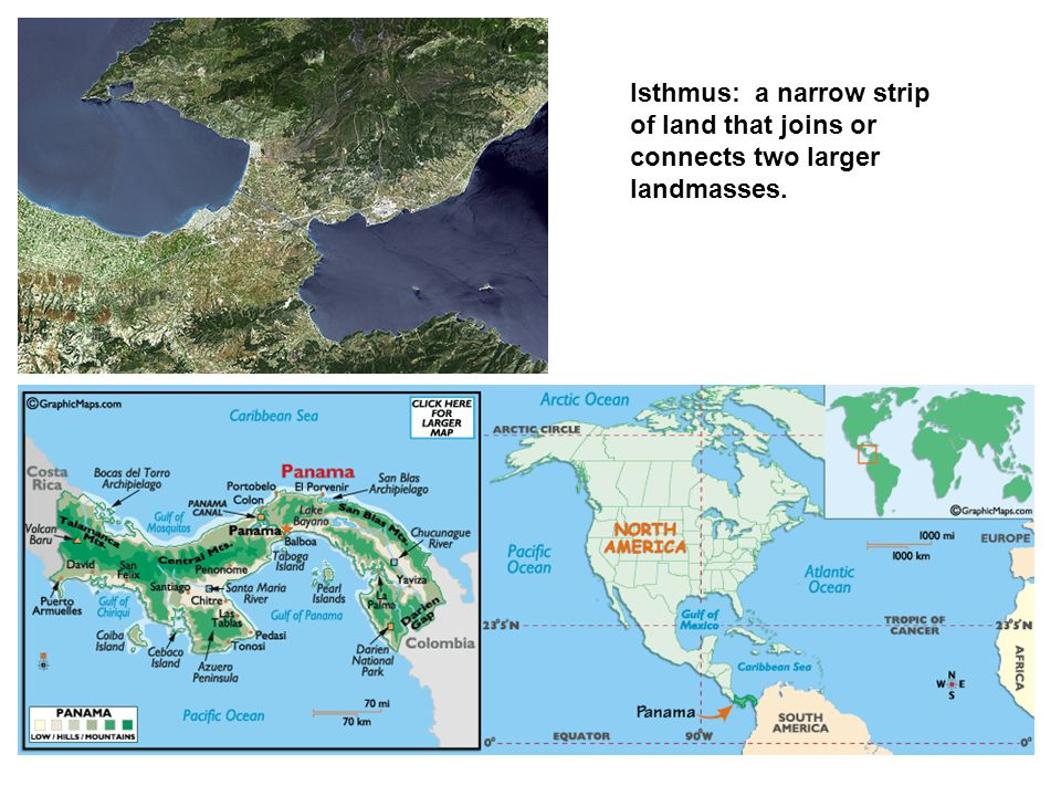 Isthmus: a narrow strip of land that joins or connects two larger landmasses.