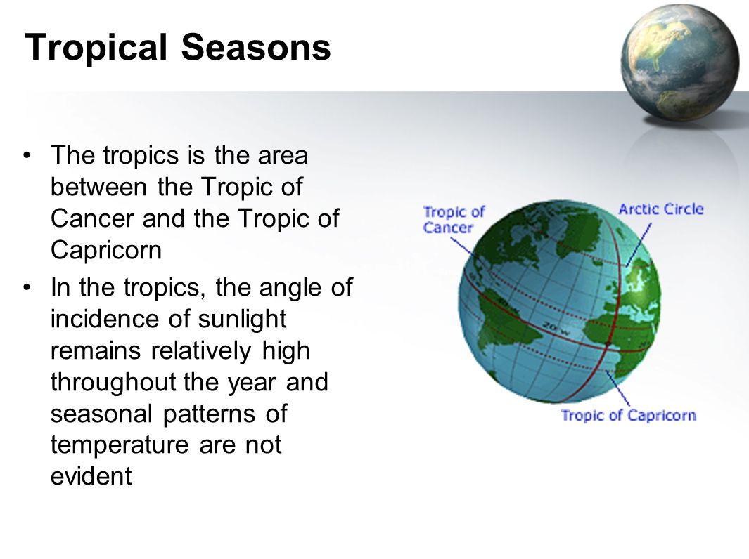 Tropical Seasons The tropics is the area between the Tropic of Cancer and the Tropic of Capricorn.