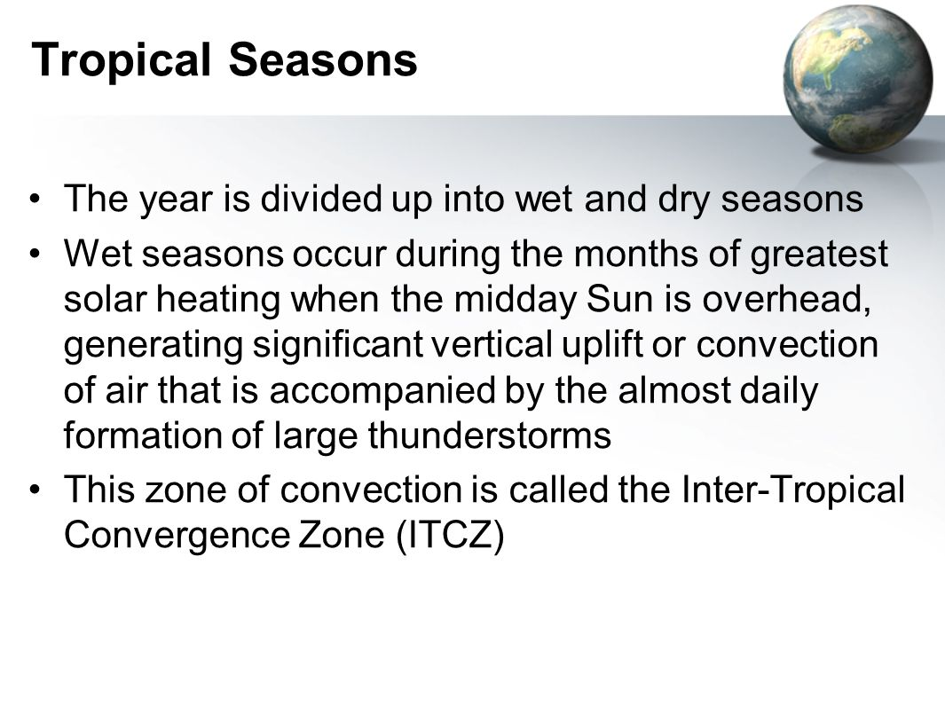 Tropical Seasons The year is divided up into wet and dry seasons