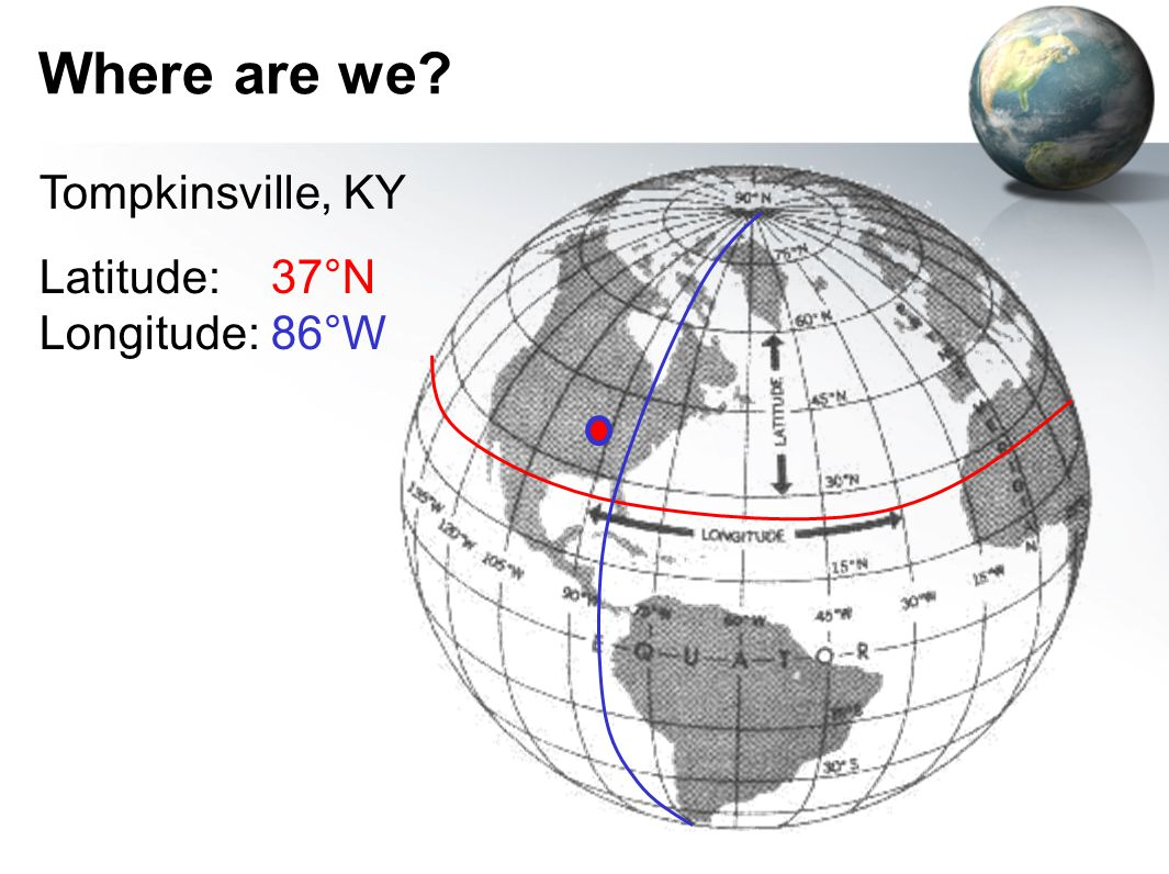 Where are we Tompkinsville, KY Latitude: 37°N Longitude: 86°W