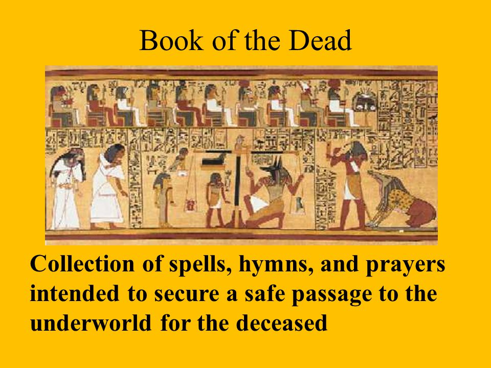 Book of the Dead Collection of spells, hymns, and prayers intended to secure a safe passage to the underworld for the deceased.