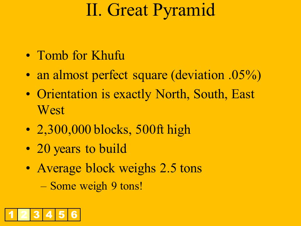 II. Great Pyramid Tomb for Khufu