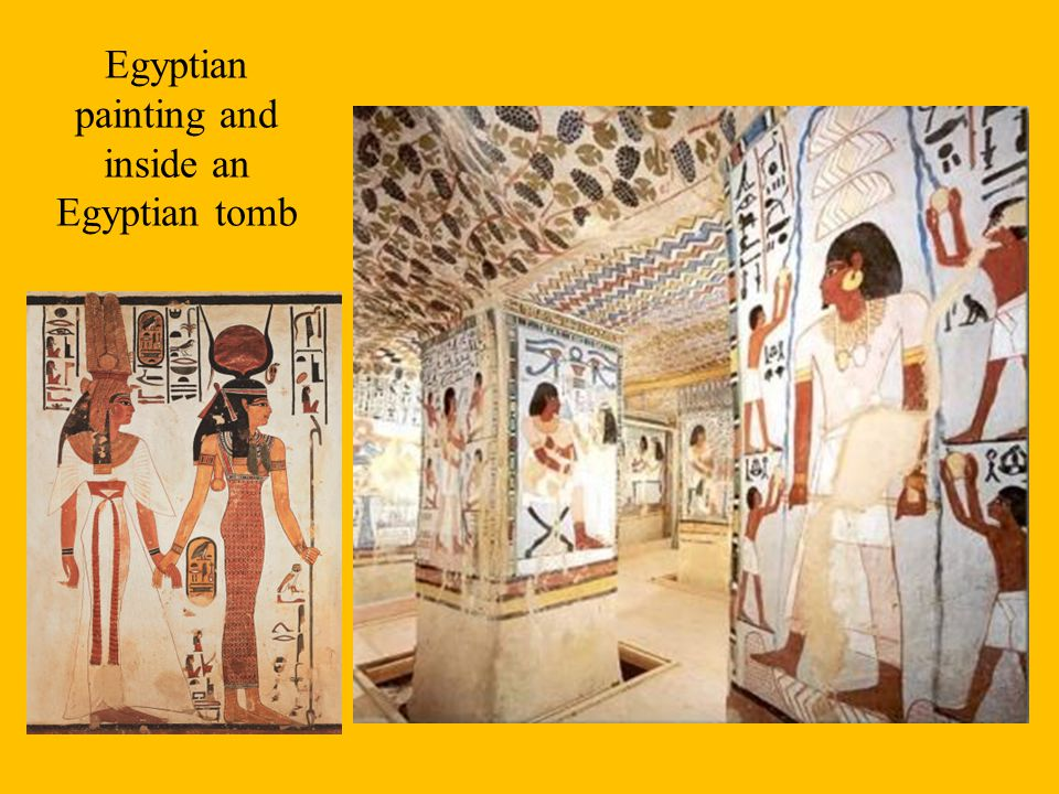 Egyptian painting and inside an Egyptian tomb