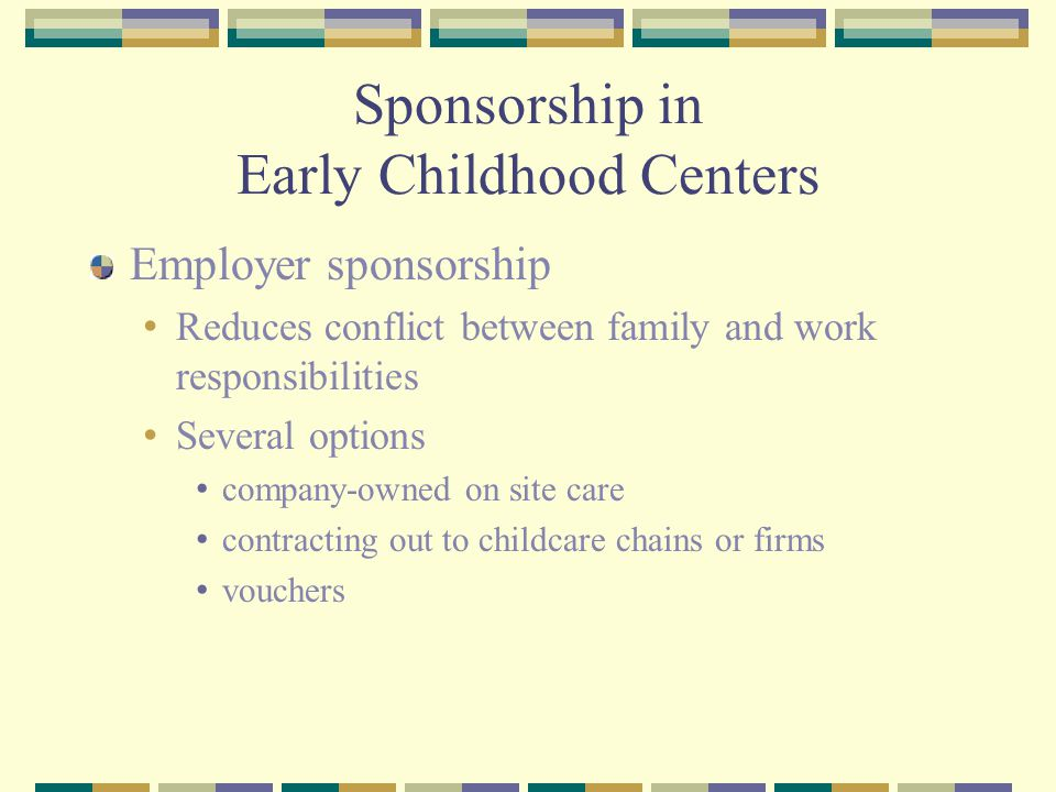 Sponsorship in Early Childhood Centers