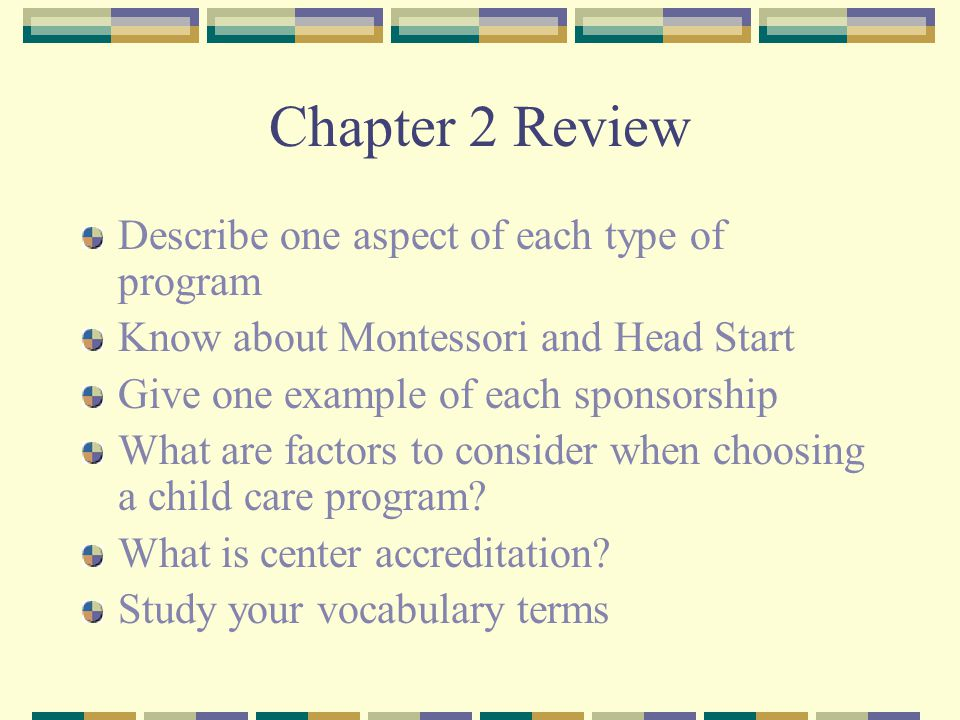 Chapter 2 Review Describe one aspect of each type of program