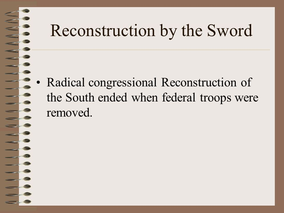 Reconstruction by the Sword