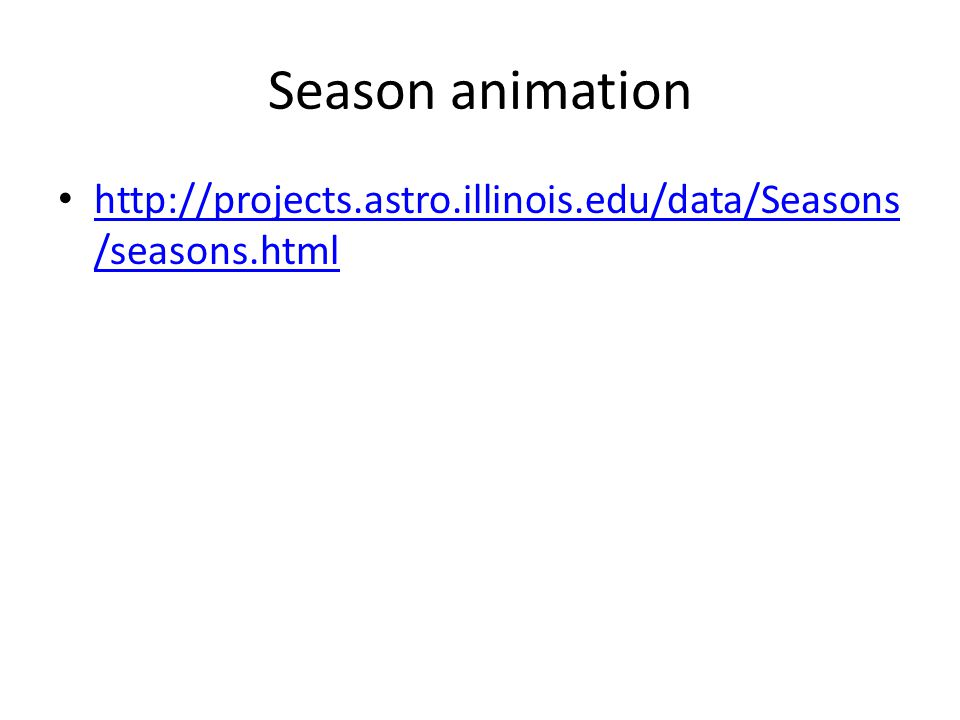 Season animation http://projects.astro.illinois.edu/data/Seasons/seasons.html